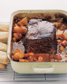 Pot Roast   Martha Stewart Living - Perfect for pot roast recipes, inexpensive chuck is one of the most flavorful cuts of beef. Simmering it slowly and gently in the oven results in a wonderfully tender pot roast. Vegetables like onions and potatoes give the pot roast recipe even more comforting flavors.
