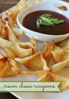 These were not too complicated and we thought they were pretty yummy.  I used the fry-daddy and next time maybe I'll add crab meat and make them crab rangoons.  High Heels & Grills: Cream Cheese Rangoons