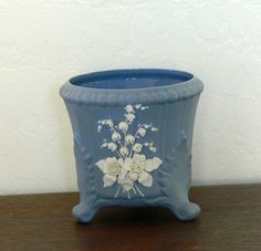 Vintage Lefton Blue Bisque Flower Pot Vase Planter by MemeresAttic