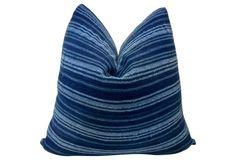 Mali Indigo  Blues Stripe   Pillow