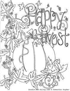 Autumn Coloring Page For Grown Ups And Adults Apples Pumpkin To