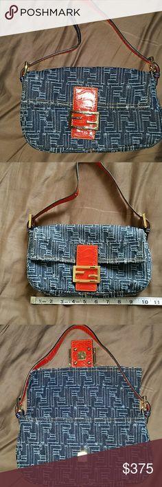 24hr SALE 🍁Fendi handbag Fendi denim with leather strap and gold logo. Fendi Bags Shoulder Bags