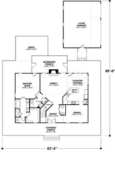 First Floor Plan of Country House Plan 92465