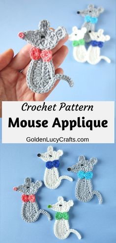 Cute crochet Mouse applique - perfect to embellish kid's items! Free crochet pattern, animal applique, crochet embellishment. Crochet Applique Patterns Free, Cat Applique, Dishcloth Knitting Patterns, Knit Dishcloth, Crochet Stitches, Crochet Appliques, Machine Applique, Applique Designs, Machine Embroidery