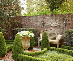 10 Ways to Create a Backyard Getaway Brick garden wall and formal gardens Small Courtyard Gardens, Formal Gardens, Outdoor Gardens, Outdoor Rooms, Modern Gardens, Garden Modern, Small Gardens, Brick Wall Gardens, Brick Garden