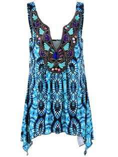 Plus Size Embroidery Tie Dye Tank Top
