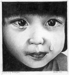 Little Girl Crying (redrawn from original in 1977)  copyright 2006. David J. Vanderpool