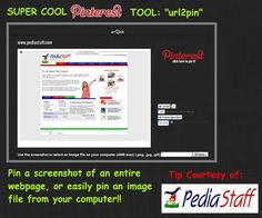 """Great new Pinterest tool!  """"url2pin"""" bookmarklet allows you to pin a screenshot of an entire page and also lets you easily pin an image from your computer!  I am liking this/using it more than I expected I would.  I am using it both when there is no image to grab, and also when there is no single image that really seems right for the pin.     -  Pinned by @PediaStaff – Please Visit http://ht.ly/63sNt for all our pediatric therapy pins"""