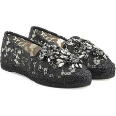Dolce & Gabbana Embellished Lace Espadrilles ($420) ❤ liked on Polyvore featuring shoes, sandals, black, embellished sandals, dolce gabbana sandals, black sandals, dolce gabbana shoes and espadrille shoes