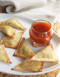 Corn-Okra Wontons with Sweet and Sour Sauce