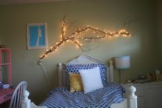 branch with lights over the bed. love my room!