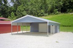 Stylish DIY Carport Plans That Will Protect Your Car From The Elements American Steel Carports Prices Design Nice Shed Design Carport pertaining to ucwords] Carport Sheds, Carport Kits, Carport Plans, Carport Garage, Carport Canopy, Garage House, Portable Carport, Carport With Storage, Storage Sheds