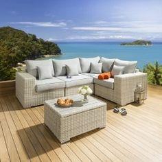 Outdoor Garden Corner Sofa L Shape Set / Group Stone Rattan Grey L1