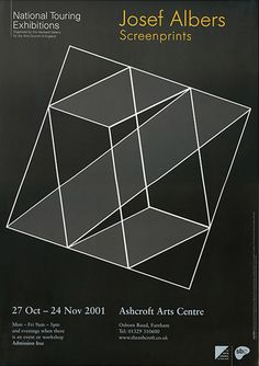 "ALBERS: ""Screenprints"" Exhibition Poster, (Block idea for me) Typography Poster, Typography Design, Joseph Albers, Exhibition Poster, Clever Design, Op Art, Optical Illusions, Graphic Design Inspiration, Quilting Designs"