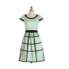 50s Long Cap Sleeves Fit & Flare As Grid as It Gets Dress by ModCloth (91 AUD) ❤ liked on Polyvore featuring dresses, green, modcloth, apparel, fashion dress, mint, long print dress, green fit and flare dress, fit and flare dress and green print dress