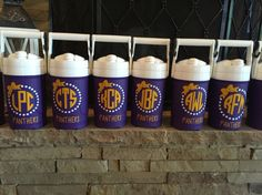 Monogrammed igloo water jugs for cheer team. Great for team gift.