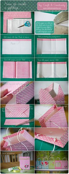 Fold your own gift bags (from Craft & Creativity via 'Or so she says...' blog) www.oneshetwoshe.com
