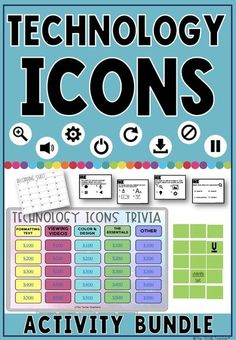 This technology icons bundle includes 3 different activities to help students learn and recognize universal icons that appear in the digital world. Students can improve their digital literacy with this trivia game that comes in Google Slides & PowerPoint, matchup/memory game and task cards with recording sheets. Great unplugged activities for when you don't have access to technology! If students have an understanding of these icons then they will be able to explore new digital tools with… Technology Tools, Digital Technology, Educational Technology, Science And Technology, Instructional Technology, Technology Logo, Science Geek, Assistive Technology, Educational Websites