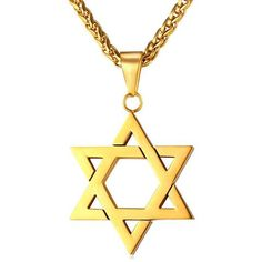 76d0114b3e1f Jewish Jewelry Magen Star of David Pendant Necklace Women Men Chain Gift  Gold Plated Stainless Steel Israel Necklace