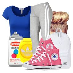 """""""❤Tacky Day"""" by honey-cocaine1972 ❤ liked on Polyvore featuring J.TOMSON, Moschino, adidas Originals, adidas, Herschel Supply Co. and Converse"""