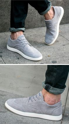 DOUBLE Live-Action Getup: Creating Modern Looks with Sneaker.- DOUBLE Live-Action Getup: Creating Modern Looks with Sneakers Wingtip Sneakers by Aureus - Mens Fashion Shoes, Men S Shoes, Sneakers Fashion, Modern Mens Fashion, Fashion Menswear, Nike Fashion, Fashion Edgy, Fashion Brands, Style Fashion