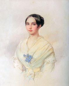 1845 Emilia Karlovna Musina-Pushkina by Vladimir Ivanovich Hau