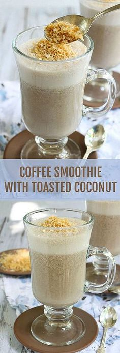 This coffee and banana smoothie is sugar-free and  so good you won't believe it's healthy. Topped with toasted shredded coconut.