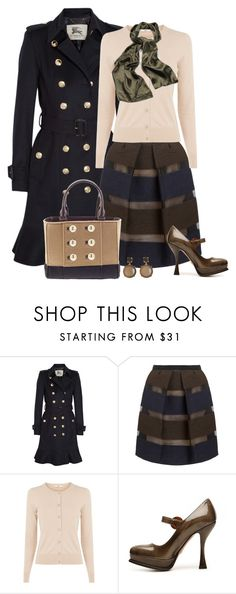 """""""Fall Style"""" by kori-belle ❤ liked on Polyvore featuring Burberry, MANTU, Oasis, Prada, Kate Spade, skirt, stripes, maryjanes and trenchcoat"""