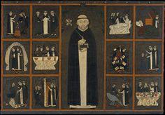 Panel of Saint Dominic, 1st quarter of 14th century. Museu Nacional d'Art de Catalunya. From the church of Sant Miquel de Tamarit de Llitera (Huesca). Tempera and varnished metal plate on wood.