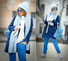 winter outfit, navy coat outfit, galant girl, cutler and gross eyewear, cutler… Colourful Outfits, Colorful Fashion, Stylish Outfits, Fashion Outfits, Womens Fashion, Fall Winter Outfits, Winter Fashion, Coat Outfit, Color Combinations For Clothes