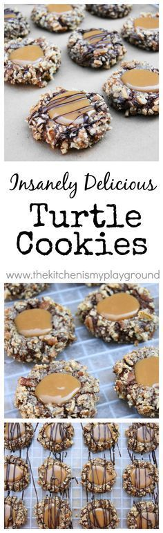 Insanely Delicious Turtle Cookies ... soft chocolate-pecan thumbprint cookies filled with caramel. www.thekitchenismyplayground