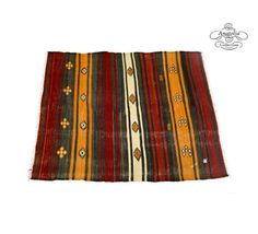 Red and Yellow Embroidered Turkish Kilim Rug by AnatoliaCollection