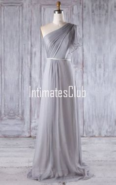 Light Grey A Line One Shoulder Chiffon Sweep Train Sashes Ribbons Bridesmaid Dress