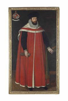 English School, 1603  Portrait of a judge, possibly Sir Thomas Walmsley (1537-1612), of Dunkenhalgh, Lancashire, full-length, in legal robes, holding a pair of gloves in his right hand, his left hand resting on a draped table with a pocket watch dated '1603' (lower right); and with the coat-of-arms of the Nowell family and the motto 'VT IVVET' (upper left) oil on canvas  75¾ x 41¾ in. (192.4 x 106.1 cm.)