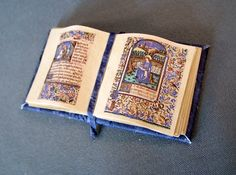 Miniature Book Medieval Gold Illuminated Open Book Ooak by whydgc