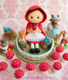 Red Riding Hood Theme Toppers - by mimicafeunion @ CakesDecor.com - cake decorating website