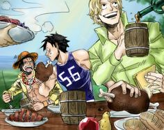 Sabo, Luffy, and Ace ONE PIECE   original  Art coloring by J.B
