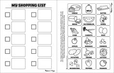 FREE PRINTABLE: Shopping List for Kids (I'm thinking this would make a nice work box activity to have a list and the student has to find bigger colored pictures and put them in a shopping basket.