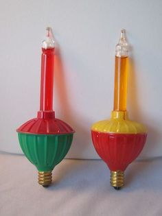 Lot of 2 Vintage Christmas Bubble Lights Green Red Yellow