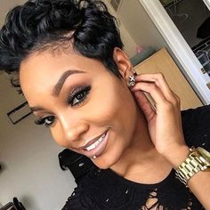 Wanna see the latest short hairstyle trends for black ladies? Here are the images of Gorgeous Black Girls with Short Hair! Take a look at these fabulous short. Short Sassy Hair, Girl Short Hair, Short Hair Cuts, Pixie Cuts, Short Pixie, Love Hair, Great Hair, Gorgeous Hair, Dope Hairstyles