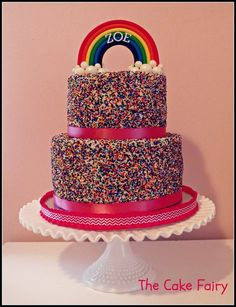 Rainbow Sprinkles Cake!  Cake by MyCakeFairyDotCom