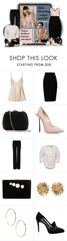 """Stella McCartney & Victoria Beckham"" by sarahguo ❤ liked on Polyvore featuring Victoria Beckham, Serpui, Casadei, STELLA McCARTNEY, Asprey and GUESS by Marciano"