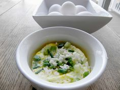 Pop an egg with some cheese and scallions in the micro