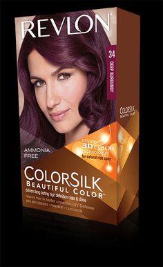 Revlon® ColorSilk Beautiful Color™. LONG LASTING, MULTI-DIMENSIONAL COLOR AND SHINE. My Shade: 34 DEEP BURGUNDY.