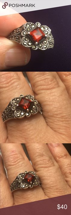 Judith Jack sterrling, marcasite and garnet ring Lovely signed JJ ring marked sterling.  Size 9. Identical ring is selling on eBay right now for $165 obo.  Snatch it up here! Judith Jack Jewelry Rings