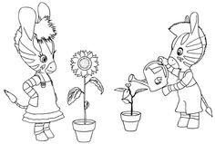Zou et Elzée jardinent
