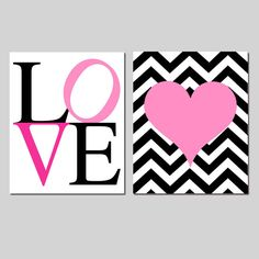 Girl Art - Chevron or Stripe Heart Love - Set of Two 11x14 Prints - Kids Wall Art - CHOOSE YOUR COLORS - Shown in Hot Pink, Black, and More
