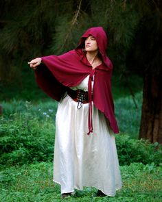 Red Riding Hood Cape - Cloak - Halloween Costume - Women - Organic Cotton - Eco…