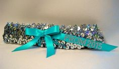 """Silver Sequin Garter with """"Prom 2016"""" #simplycharming #prom #prom2016 #garter #silver #silversequin #turquoise"""