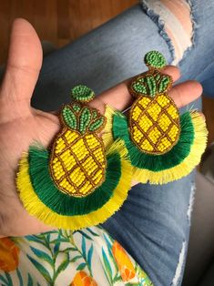 Pineapple doble tassel -stud earring -piapple -tropical earring -light weight -livianas -handmade by PathysDesigns on Etsy Diy Earrings Dangle, Beaded Tassel Earrings, Beaded Jewelry, Handmade Jewelry, Diy Jewelry, Fabric Earrings, Fabric Jewelry, Funky Jewelry, Loom Beading